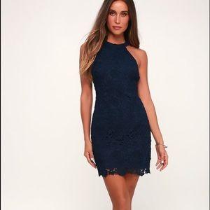 LULUS  Navy Blue Lace Dress